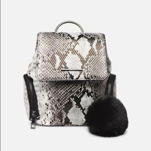 Black & White Snake Print Mini Backpack